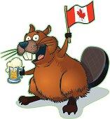 Cartoon Beaver with Mug of Beer and Canadian Flag