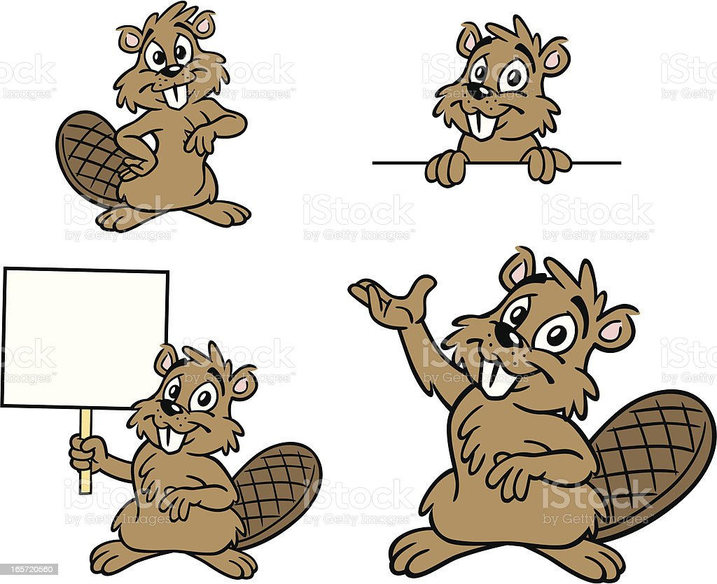 Cartoon Beavers vector art illustration
