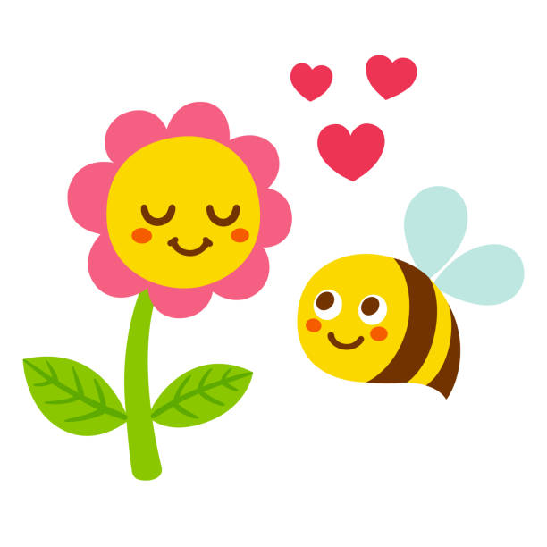 illustrazioni stock, clip art, cartoni animati e icone di tendenza di cartoon bee and flower - impollinazione