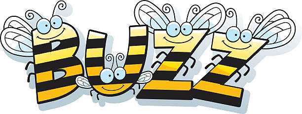 Cartoon Bee Buzz A cartoon illustration of the word buzz with a bee theme. bee clipart stock illustrations