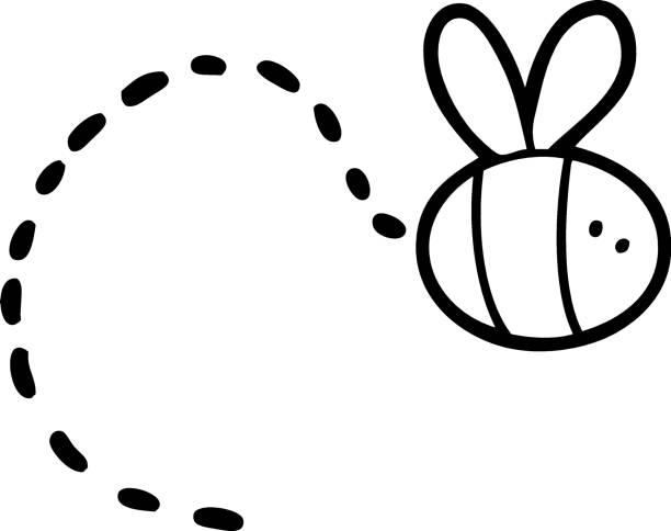 cartoon bee flying vector art illustration