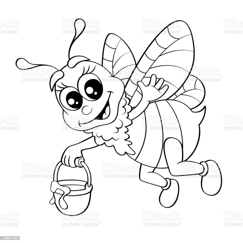 Abeja De Dibujos Animados Con Cubo Miel Ilustración De Vector De ...