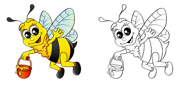 Cartoon bee flying with bucket honey. Colour and black white vector illustration for coloring book