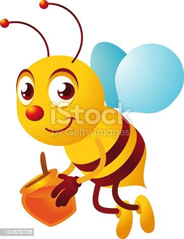 Vintage bee carrying honey.