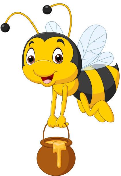 Cartoon Bee holding honey bucket Vector illustration of Cartoon Bee holding honey bucket bee clipart stock illustrations