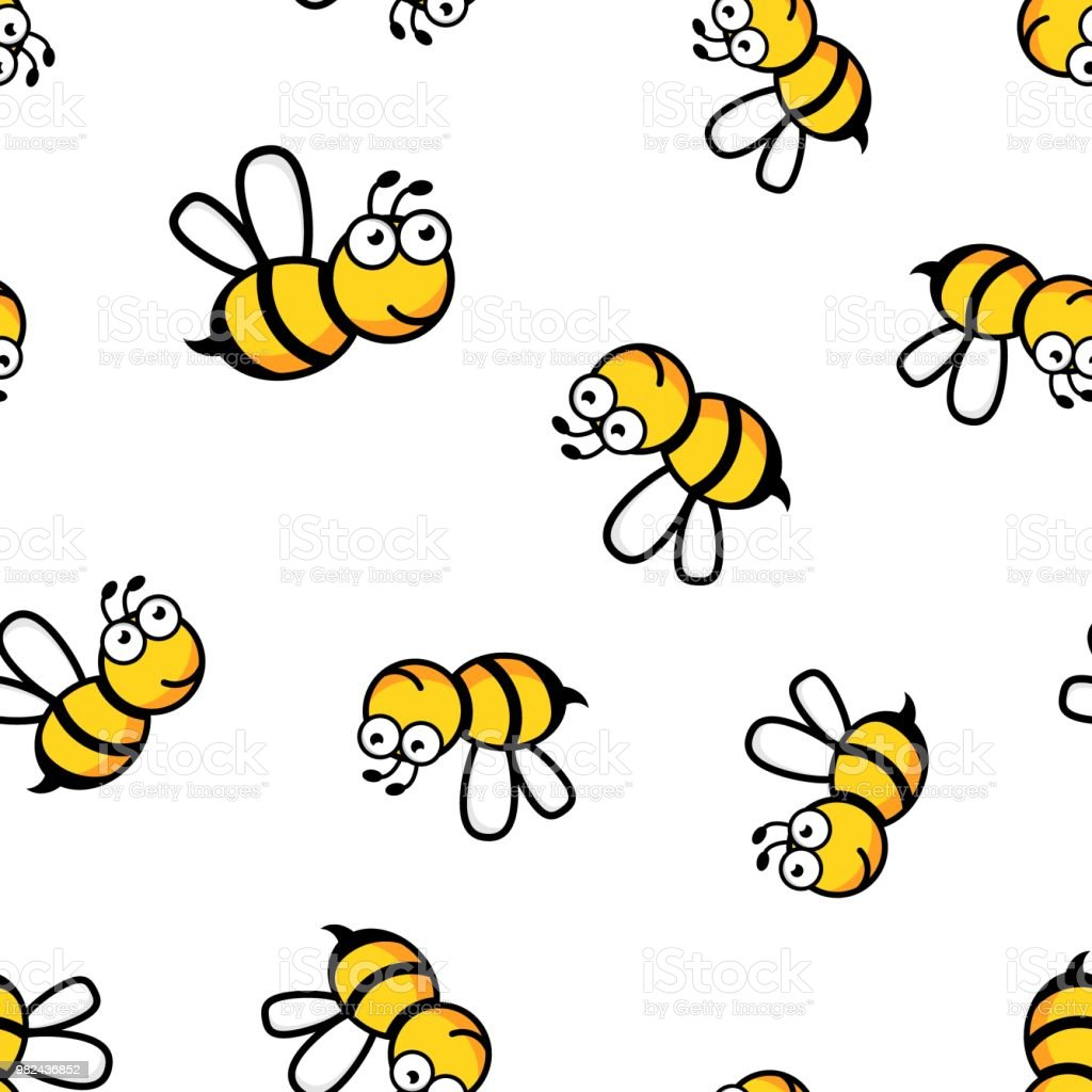 Cartoon bee icon seamless pattern background. Business concept vector illustration. Wasp insect bee symbol pattern.
