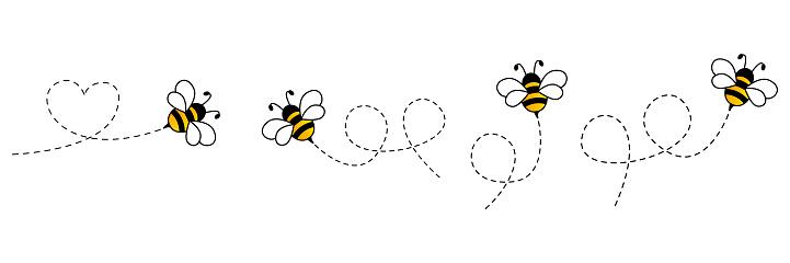 Cartoon bee icon set.