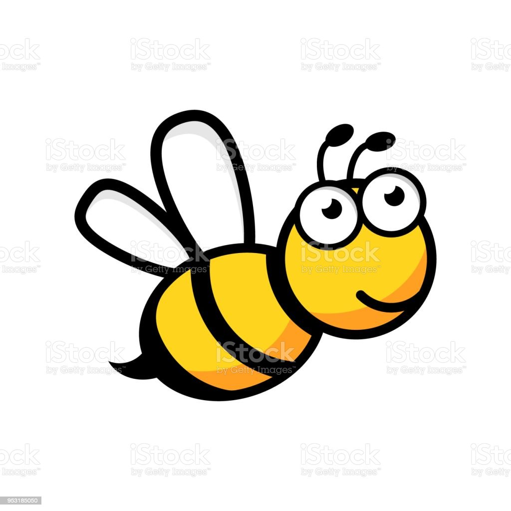 Cartoon bee logo icon in flat style. Wasp insect illustration on white isolated background. Bee business concept.