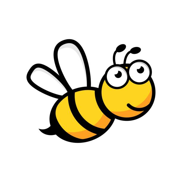 Bекторная иллюстрация Cartoon bee logo icon in flat style. Wasp insect illustration on white isolated background. Bee business concept.