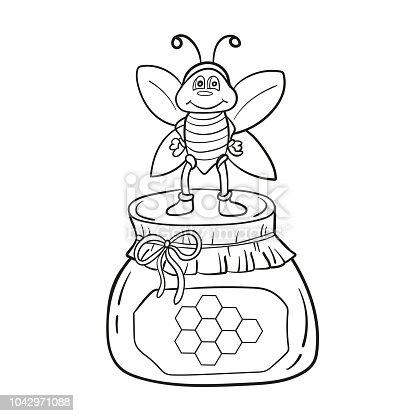 Ilustración de Abeja De Dibujos Animados Con Miel Ilustración De ...