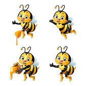 Illustration of Cartoon bee with honey collections set