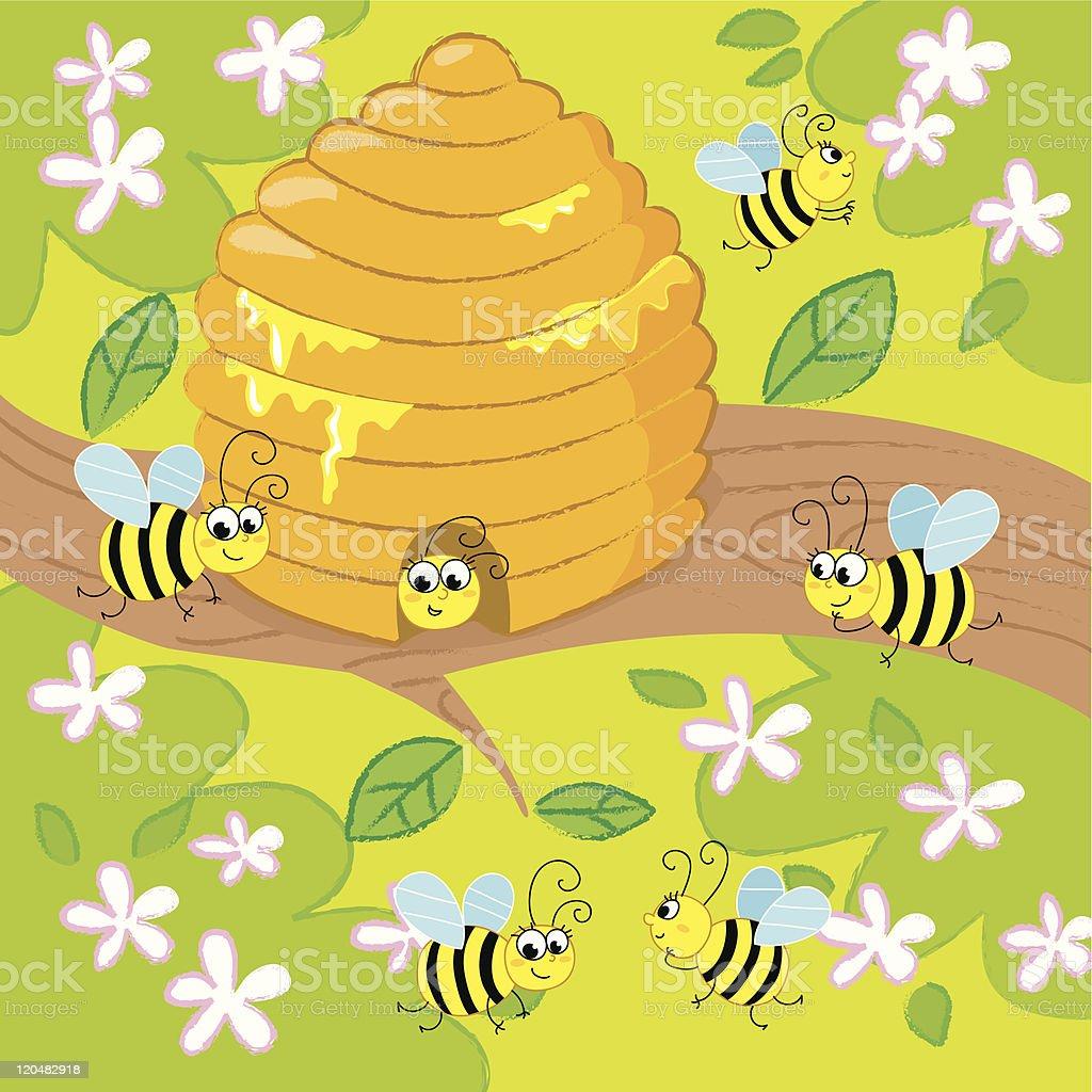 Cartoon Beehive Stock Vector Art & More Images of Bee 120482918 | iStock