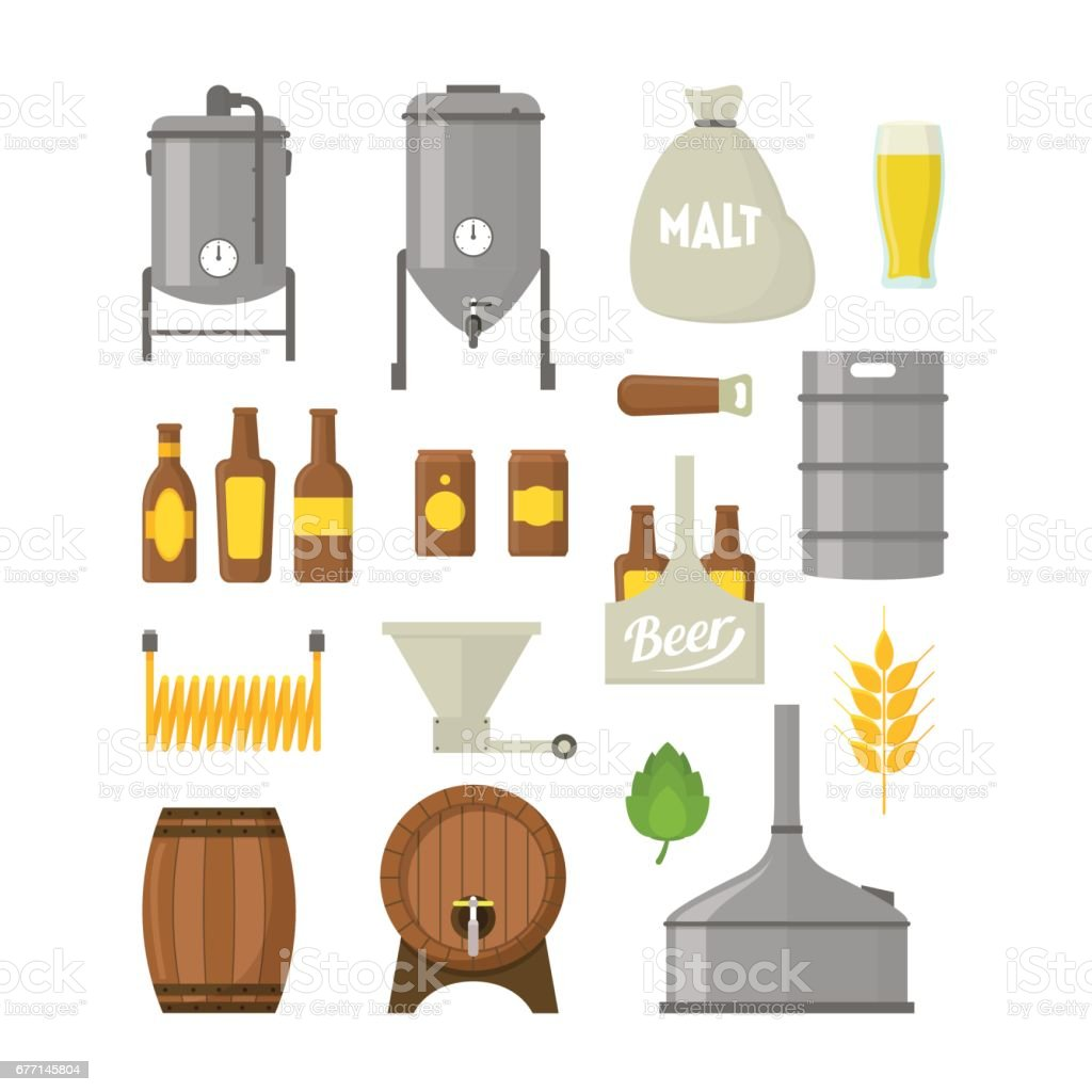 Cartoon Beer Brewing Color Icons Set. Vector vector art illustration