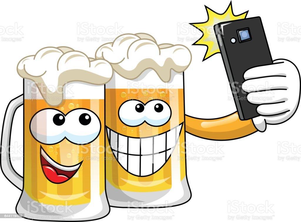 Cartoon Beer Mugs Selfie Smartphone Isolated Stock Vector