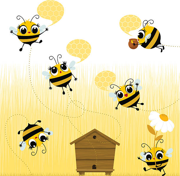 Cartoon bees flying around the wooden hive Bees flying. Please, you can see more of my original work in my lightboxs:http://i681.photobucket.com/albums/vv179/myistock/ani2.jpg swarm of insects stock illustrations