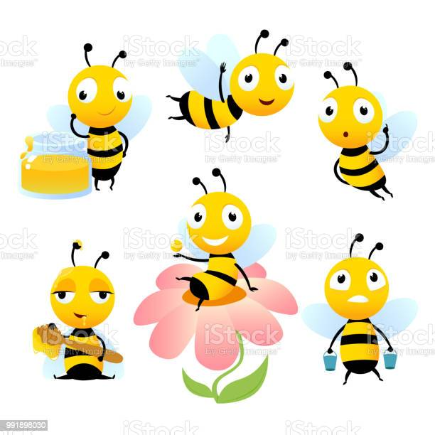 Cartoon Bees Funny Illustrations Of Characters Isolate Stock Illustration Download Image Now Istock