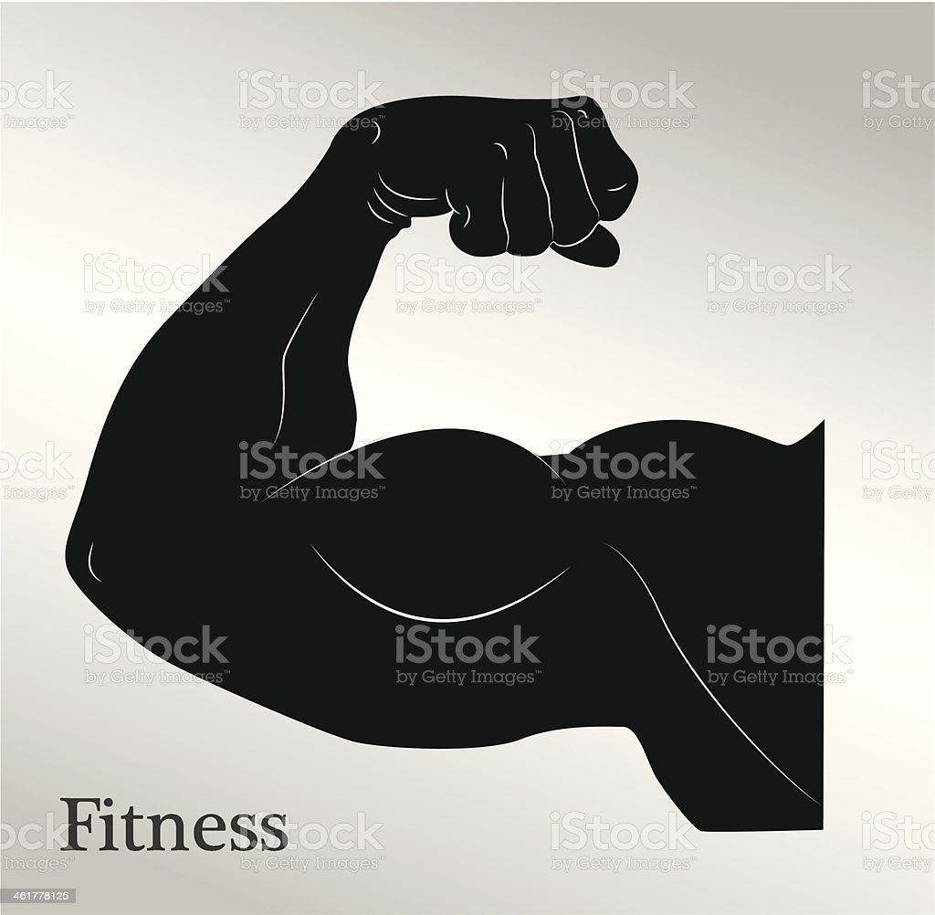 Cartoon biceps man's arm muscles vector art illustration