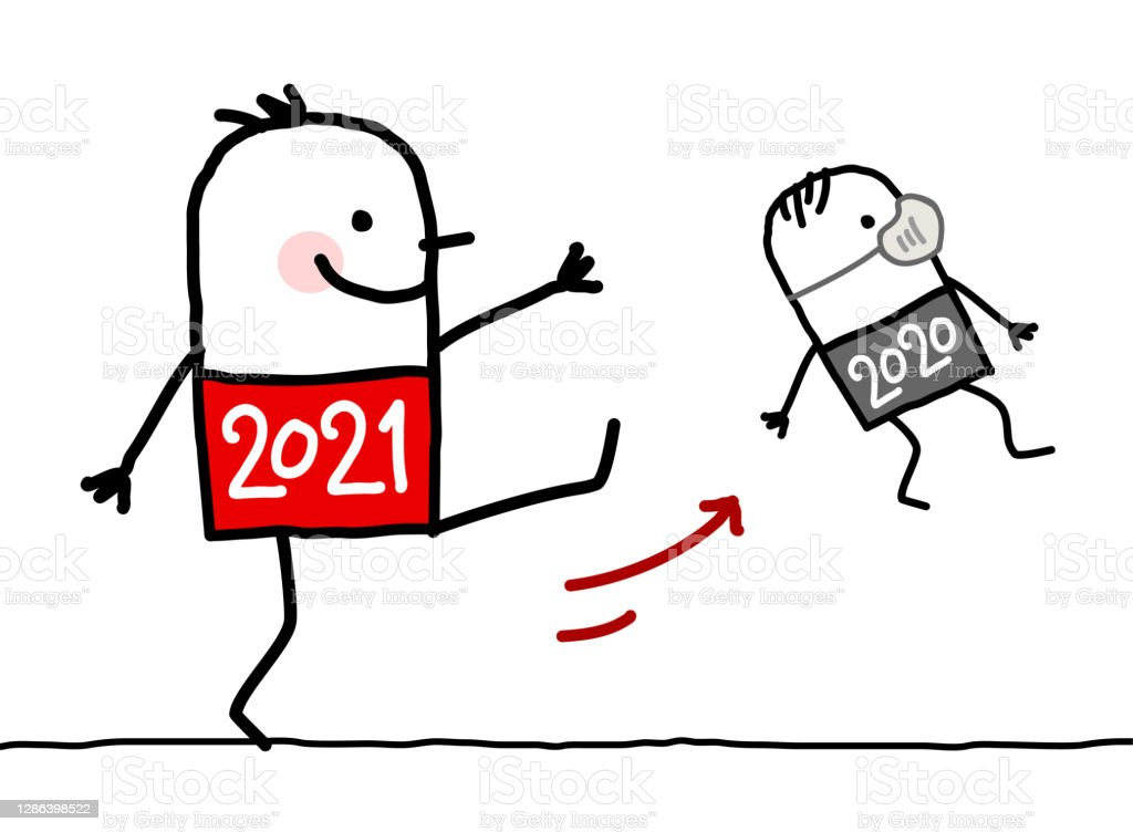 Cartoon Big 2021 Man Kicking Out a Small 2020 with Mask - Royalty-free 2021 arte vetorial