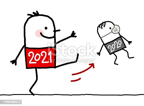 istock Cartoon Big 2021 Man Kicking Out a Small 2020 with Mask 1286398522