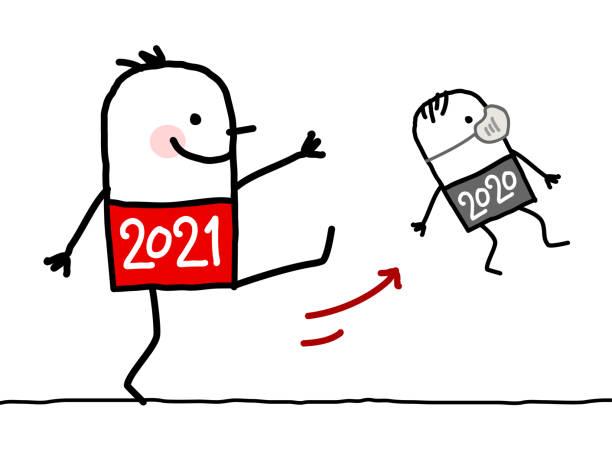 ilustrações de stock, clip art, desenhos animados e ícones de cartoon big 2021 man kicking out a small 2020 with mask - happy new year