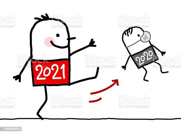 Cartoon Big 2021 Man Kicking Out A Small 2020 With Mask - Arte vetorial de stock e mais imagens de 2021