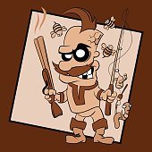 The comic figure. Character is holding  a shotgun in one hand and Spinning in the other. It's obvious that he is great fan of hunting, fishing and outdoor activities. Kind of a man is very excited, happy and a little bit crazy. Around his head flying bee. Bewildered worm is hanging on a hook.