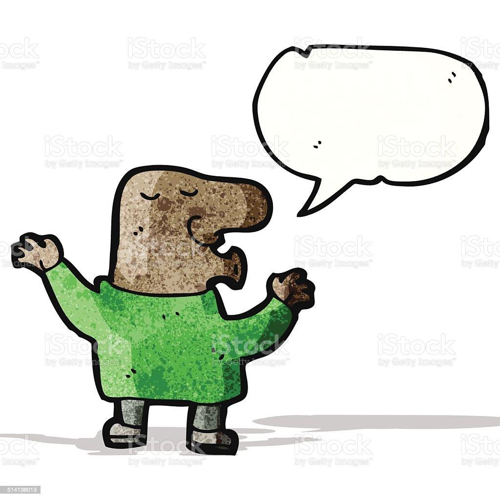 cartoon big nose man talking vector art illustration