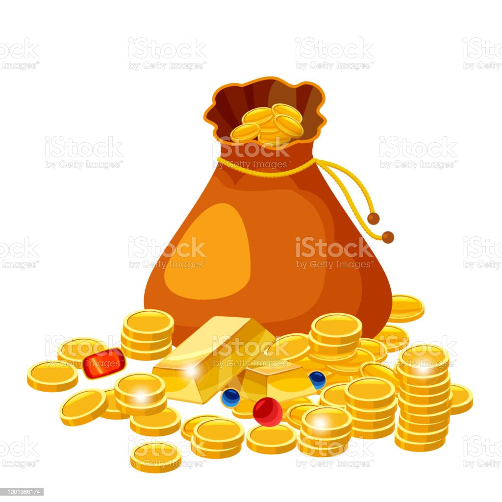 cartoon big old bag with gold coins jewelry cash prize vector