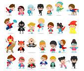 Cartoon big set of Kid Superheroes wearing comics costumes,Kids With Superhero Costumes set, kids in Superhero costume characters isolated on white background, Cute little Superhero Children
