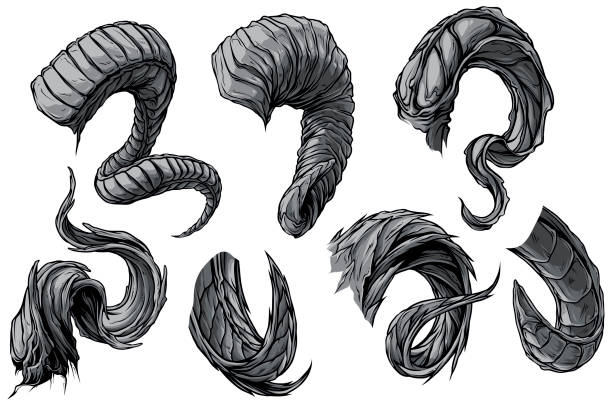 Cartoon big sharp spiral animal horns vector set Cartoon graphic detailed big sharp spiral animal horns or antlers. Hunting trophy. Isolated on white background. Vector icon set. horned stock illustrations