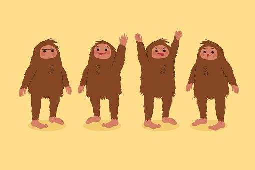 Cartoon bigfoot sasquatch character collection Vector illustration