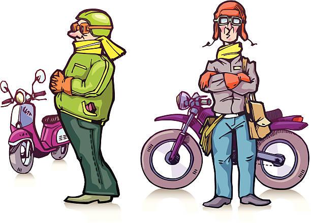 comic biker - extravagant schutzbrille stock-grafiken, -clipart, -cartoons und -symbole