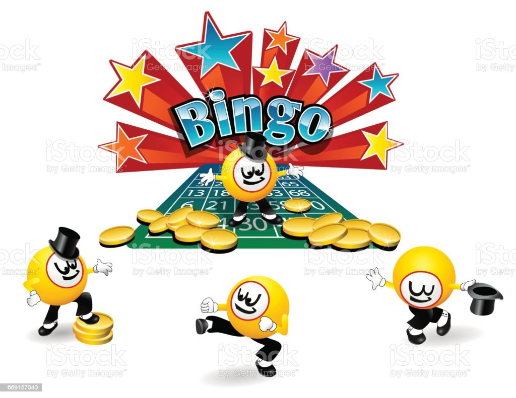 personagem de desenho animado bingo bola com uma variedade de poses - ilustração de arte em vetor