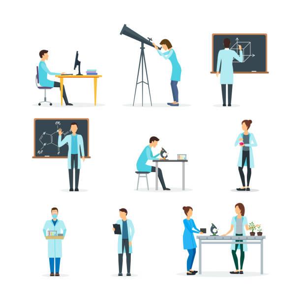 ilustrações de stock, clip art, desenhos animados e ícones de cartoon biologists, chemists and physicists set. vector - scientist
