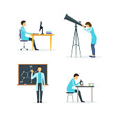 Cartoon Biologists, Chemists and Physicists Set Science Research and Experiment Professional in Laboratory Concept Flat Design Style. Vector illustration of Scholarship