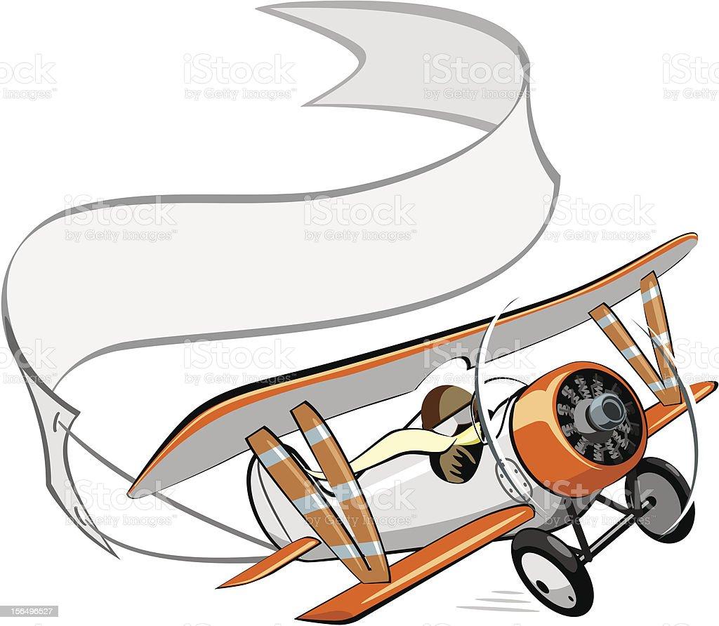 Biplano de historieta con banner - ilustración de arte vectorial