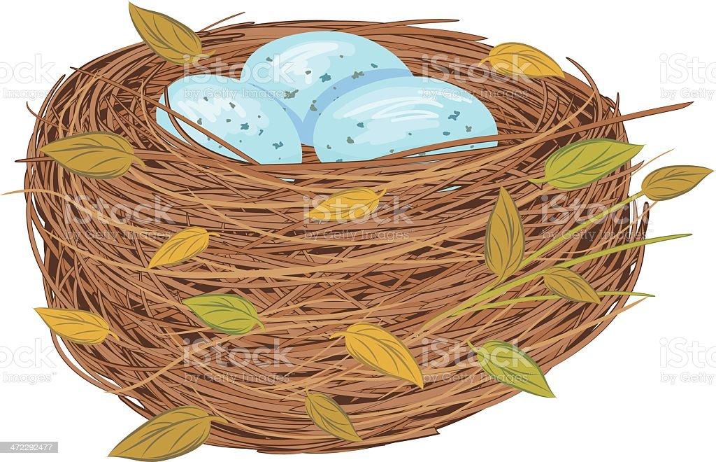 Cartoon Bird Nest With Blue Eggs vector art illustration