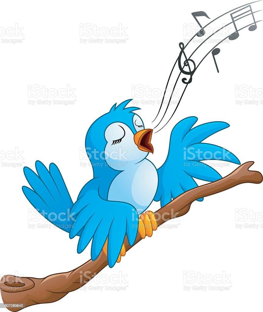 Cartoon bird sing on the branch vector art illustration