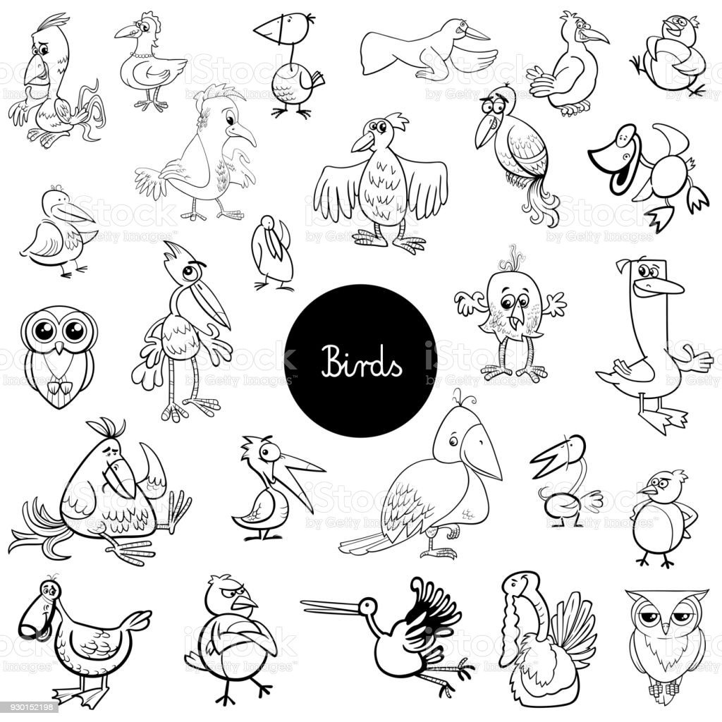 Karikatür Kuş Hayvan Set Boyama Kitabı Stok Vektör Sanatı