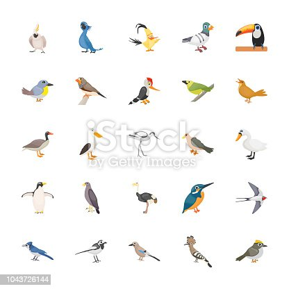 This feather creature or birds flat icons set  with full of colorful, adorable and relevant icons of the birds. You can find almost any kind of birds icon belonging to the wild, domestic and offspring categories of well-known birds. Hold this colorful amazing pack for related projects.