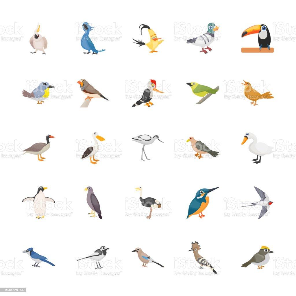 Cartoon Birds Flat Vector Set vector art illustration