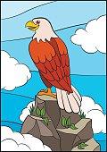 Cartoon birds for kids: Eagle. Cute eagle on the rock.