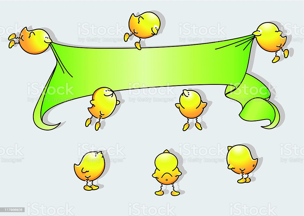 Cartoon Birds Holding A Banner Stock Illustration Download Image Now Istock