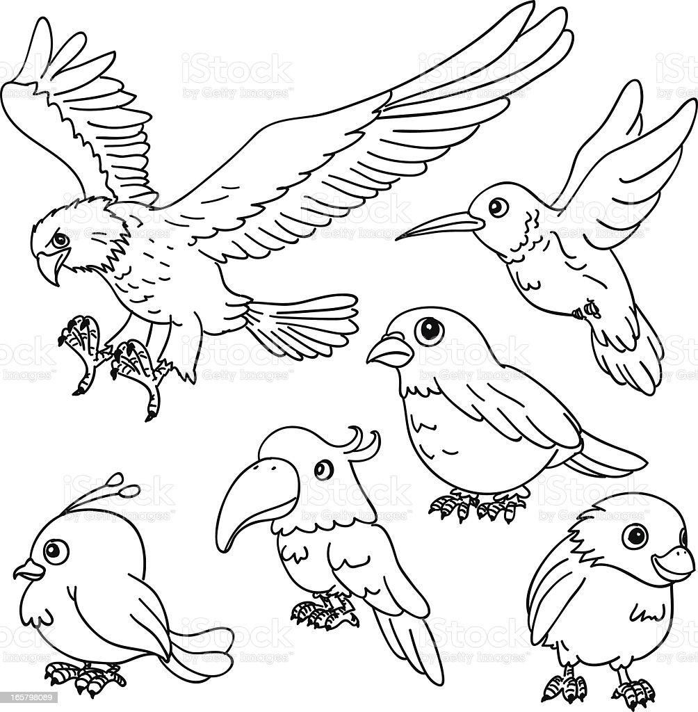 Cartoon birds in black and white vector art illustration