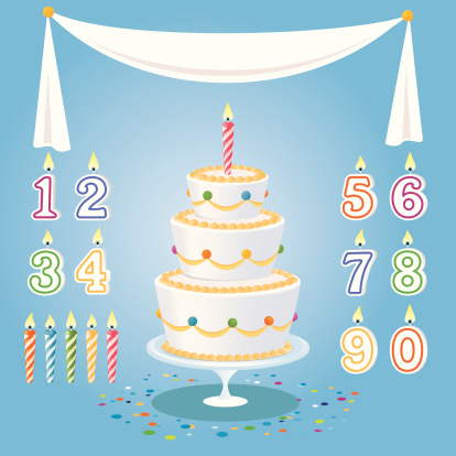 Cartoon birthday cake, candles, numbers, and tablecloth