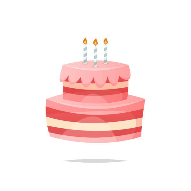 kreskówka tort urodzinowy wektor odosobniony - ciasto stock illustrations