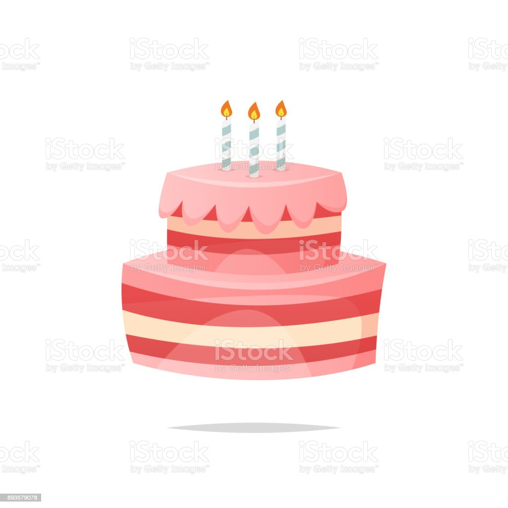 Cartoon birthday cake vector isolated vector art illustration
