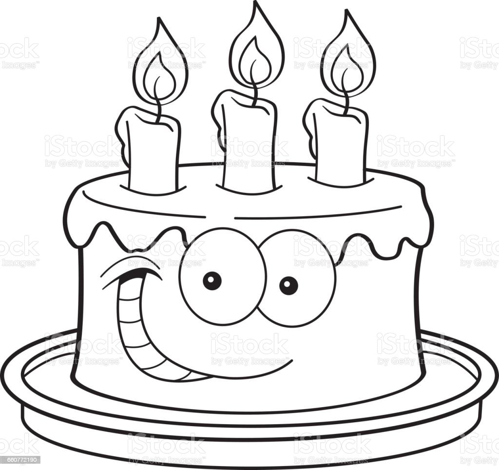 Cartoon Birthday Cake With Candles Stock Vector Art More Images of