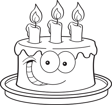 Cartoon Birthday Cake With Candles Stock Illustration