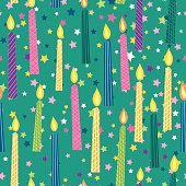 Cartoon Birthday Candles Seamless Background Pattern, Green